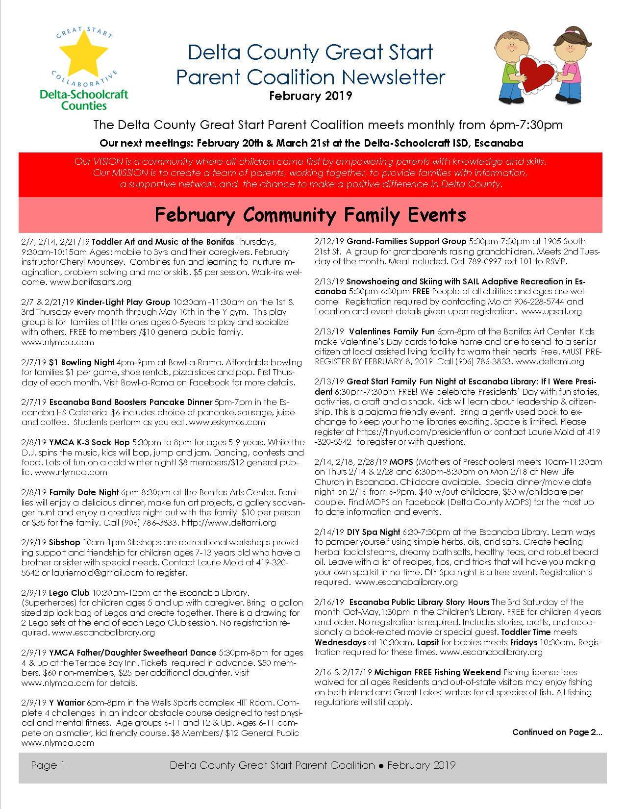Delta County Great Start Parent Coalition Newsletter February 2019 pg1