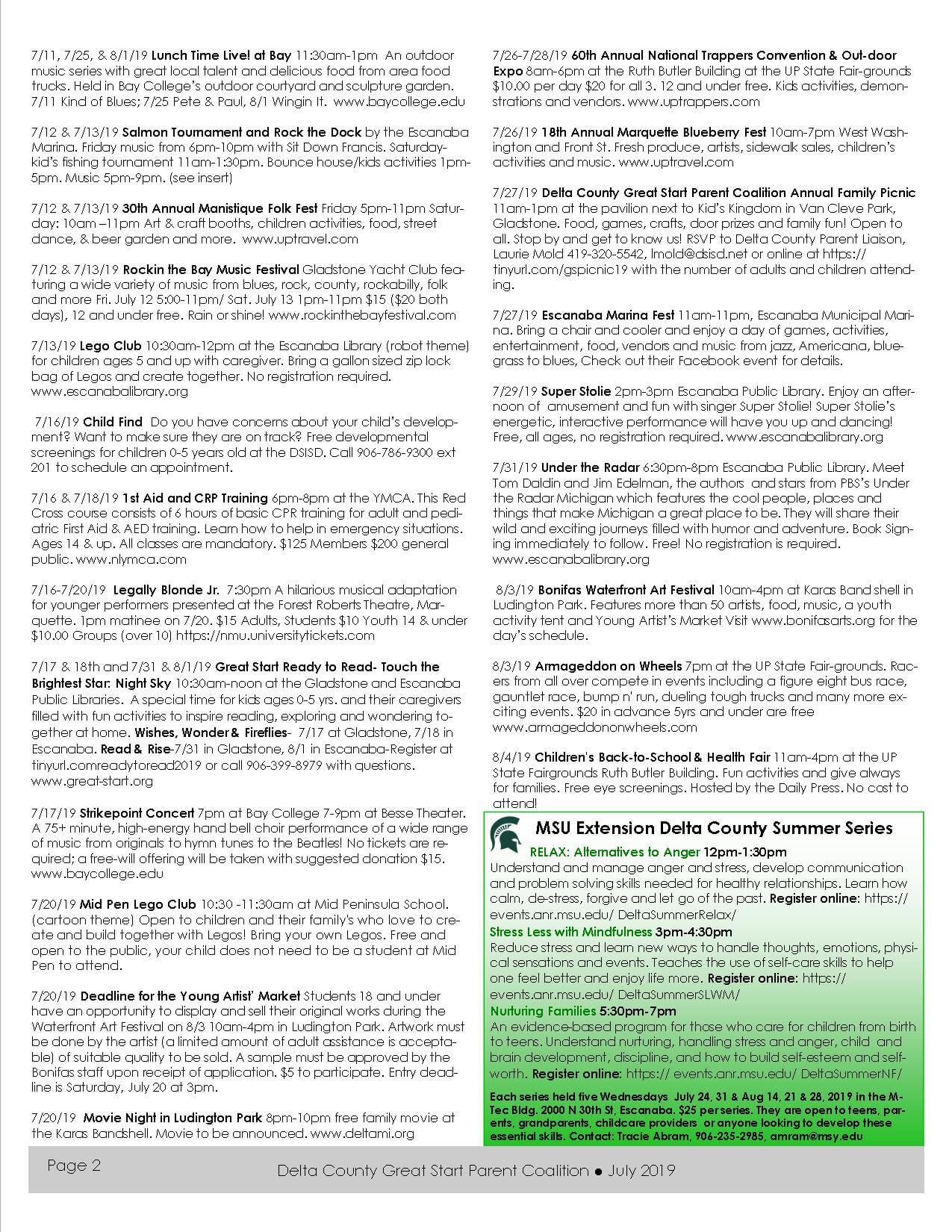 July 2019 Newsletter - Delta-Schoolcraft County Great Start