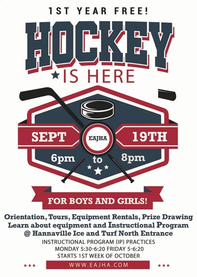1st year Free! Hockey is here. Sept. 19th. EAJHA. 6pm to 8pm. For boys and girls! Orientation, tours, equipment rentals, prize drawing, learn about equipment and instructional program at Hannaville Ice and Turf North Entrance, insturctional program (OP) Pracice Monday 5:30-6:20, Friday 5-6:20. Starts 1st week of October, go to www.eajha.com