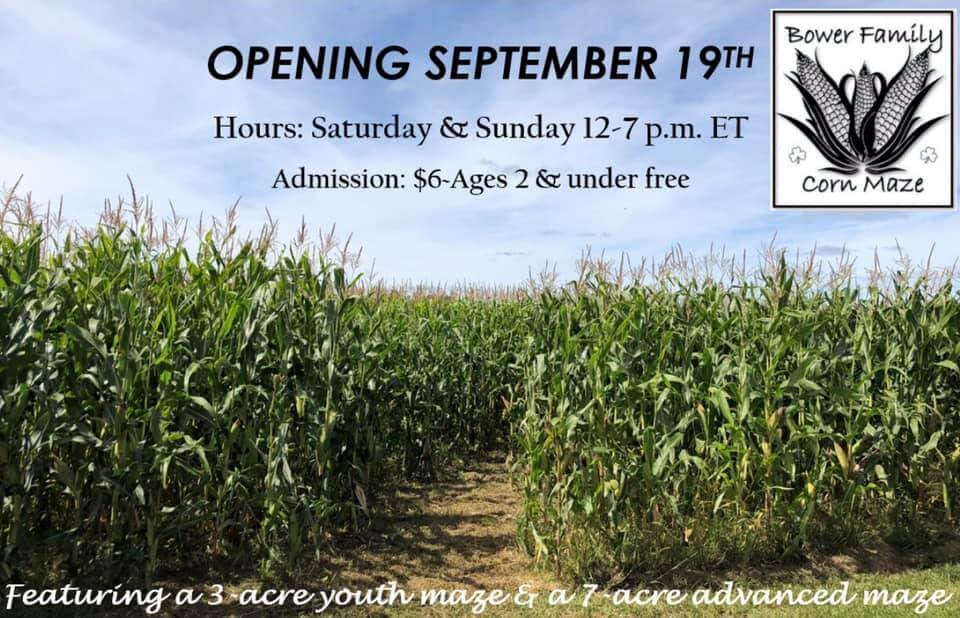 Opening September 19th, Hours: Satuday & Sunday 12-7 p.m. ET, Admission $6. Ages 2 & Under . Featuring a 3-acre youth maze & a 7 acre advances. maze.