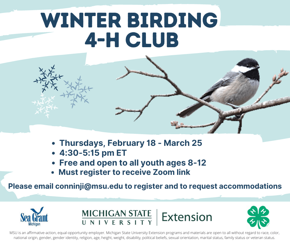 Winter Birding 4-H Club. Thursdays, February 18-March 25; 4:40-5:15 PM EST; Free and open to all youth ages 8-12; Must register to receive Zoom link. Please email conninji@msu.edu to register and to request accommodations.